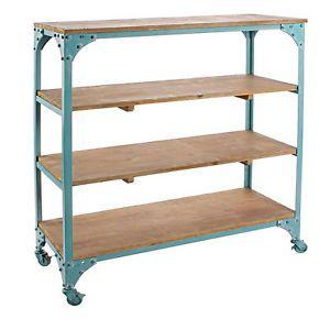Libreria provenzale in ferro blu con 4 ripiani in legno for Bricolage arredamento