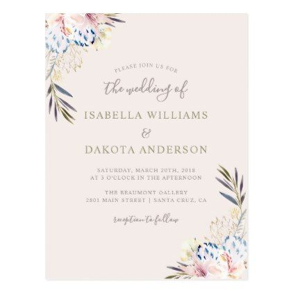 Sweet Watercolor Floral Damask Wedding Invitation Postcard - script - wedding template
