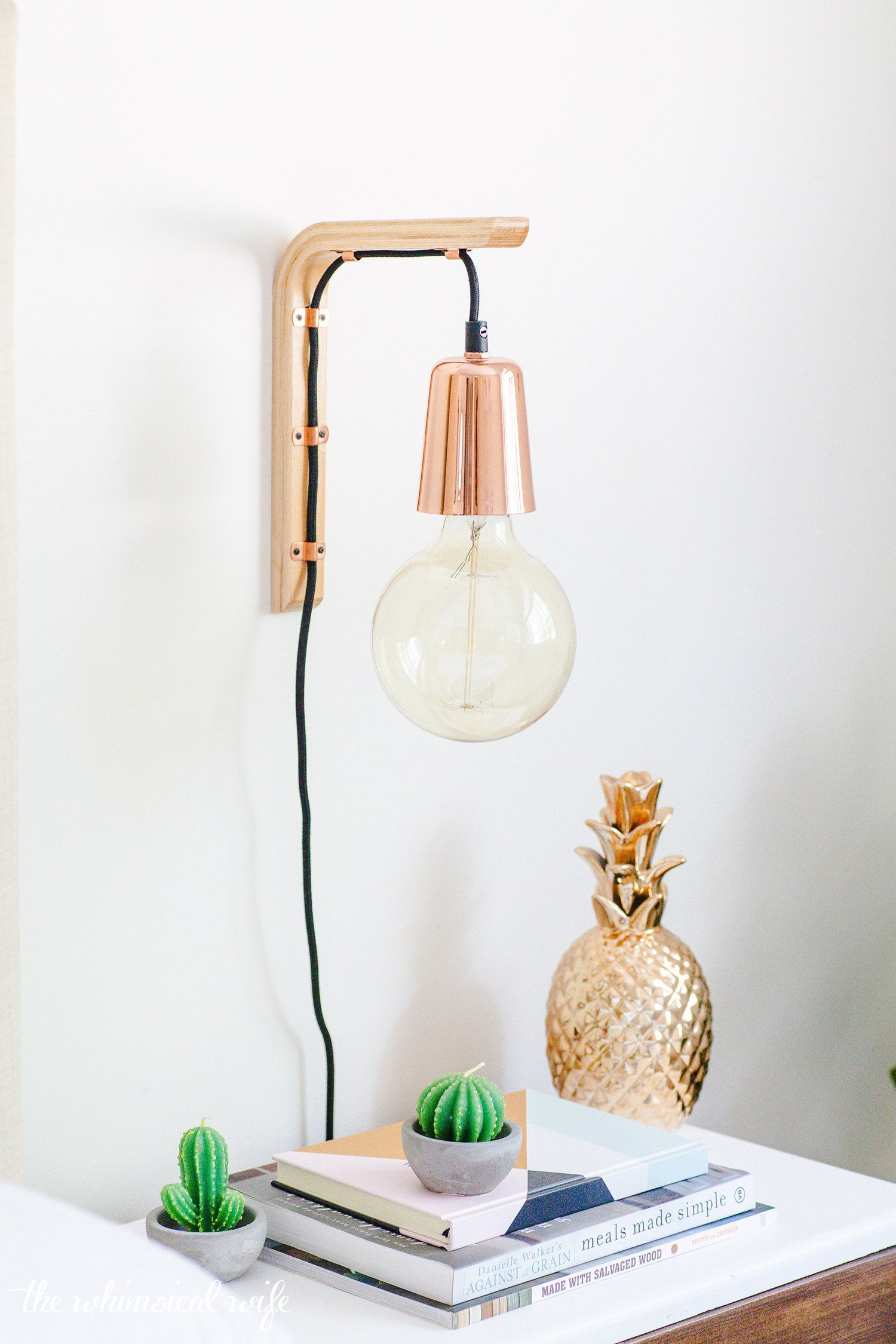 Hanging Wooden Wall Bracket Light