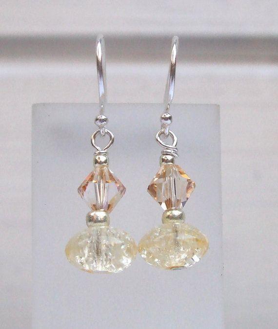 Citrine glass earrings Sterling Silver by SheRocksGemjewellery