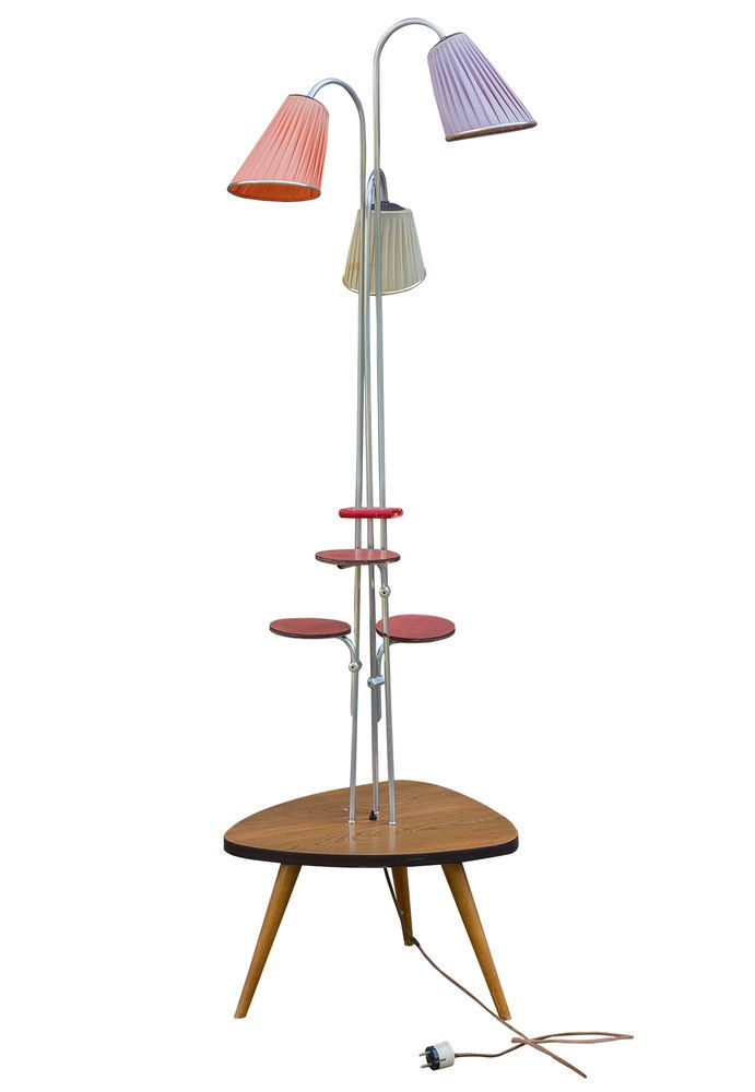 Wohnzimmer STEHLAMPE, Blumenbank, Beistelltisch, Retro Design Möbel