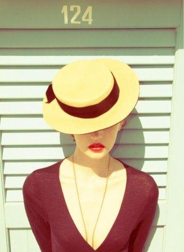 Hat, Lips, V neck. Elegance defined.