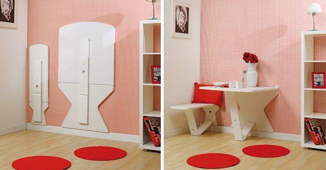 Mesa que se oculta en la pared mesas pinterest oculto banco para sentarse y mesas - Mesa plegable pared ...