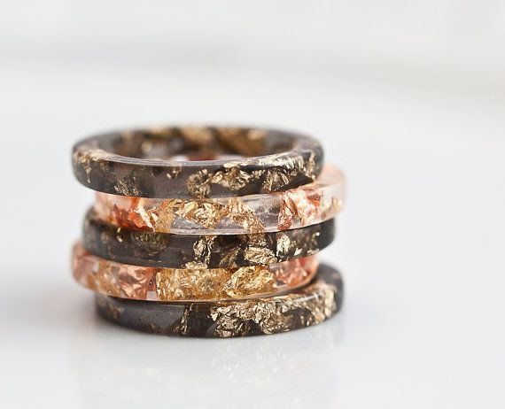 Photo of Resin Stacking Ring Black Gold Flakes Thin Small Ring OOAK…