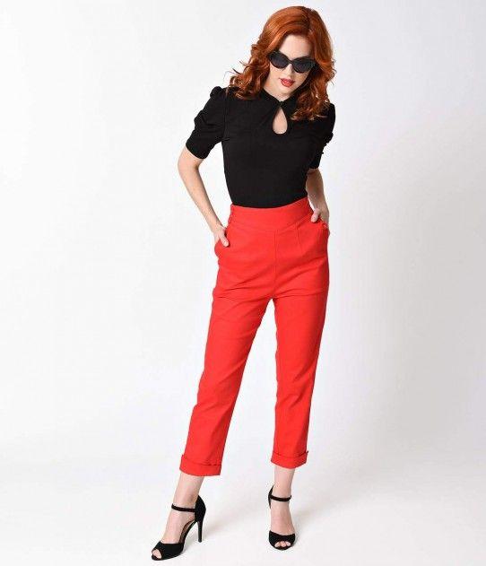 af530166909727 Voodoo Vixen 1950s Red Henrietta High Waist Pedal Pushers | My Style ...