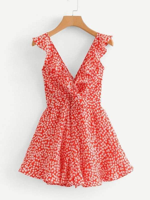 Ditsy Floral Ruffle Trim Knot Back Romper