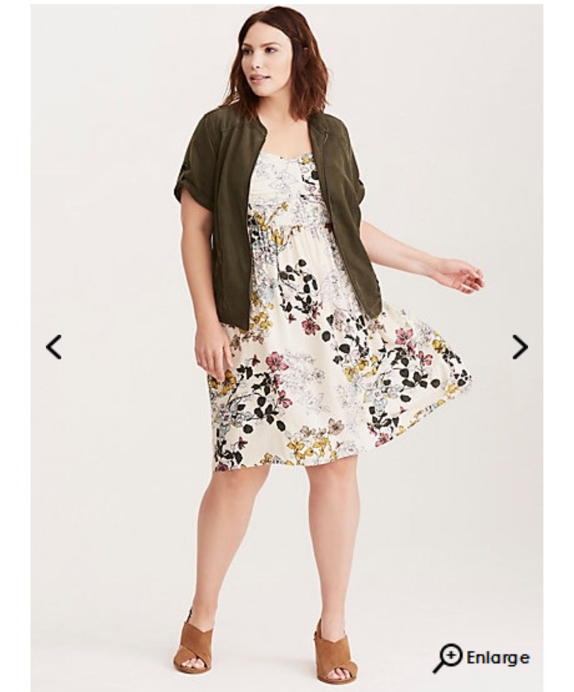 403f2d31e8b Torrid - Floral Print Bow Front Challis Sundress (2nd look w olive sweater)