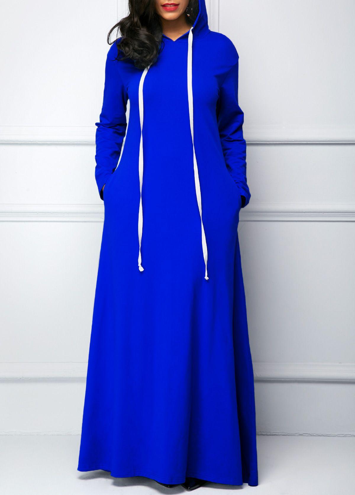 Hooded Collar Royal Blue Long Sleeve Maxi Dress liligal USD