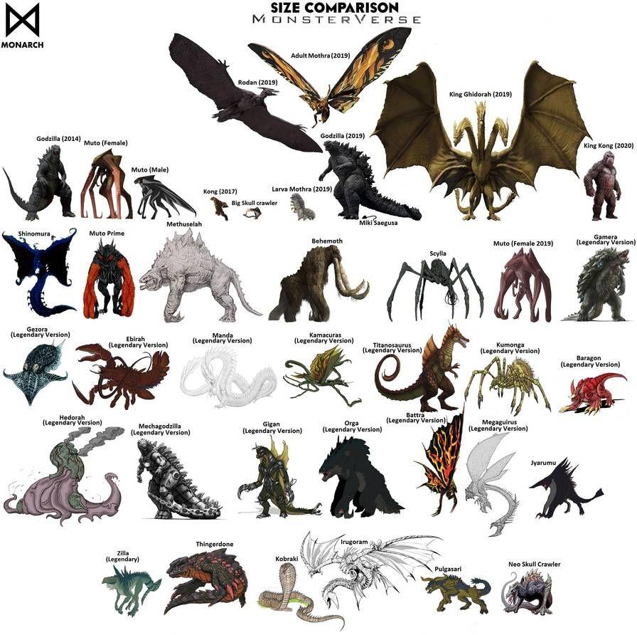 Kaijus Legendary MonsterVerse Size Comparison by MissSaber444 on DeviantArt  | All godzilla monsters, Kaiju monsters, Godzilla wallpaper