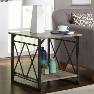 Shop For Simple Living Seneca XX Black/ Grey Reclaimed Look End Table. Get  Free