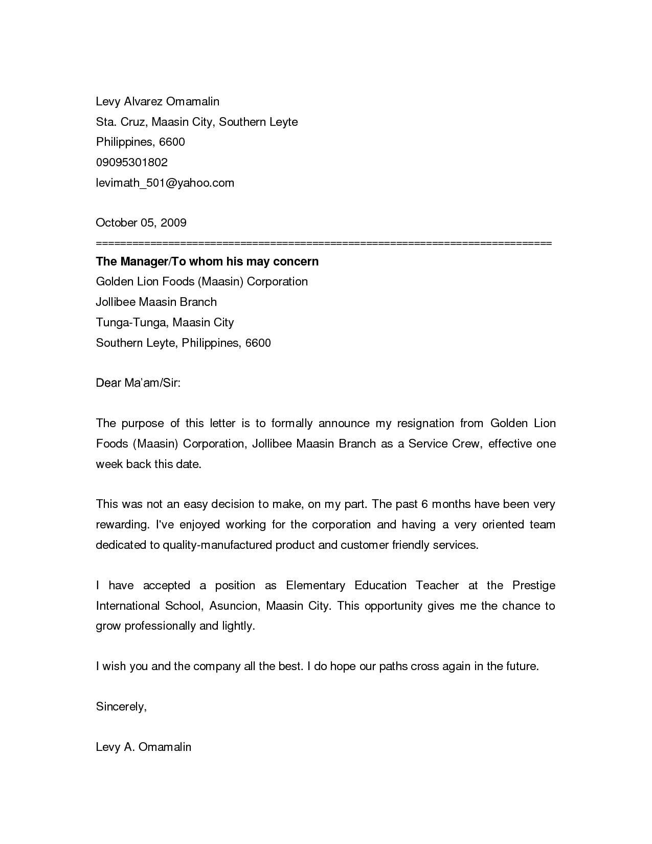 Resign Letter Format Of A Cover Letter For A Questionnaire