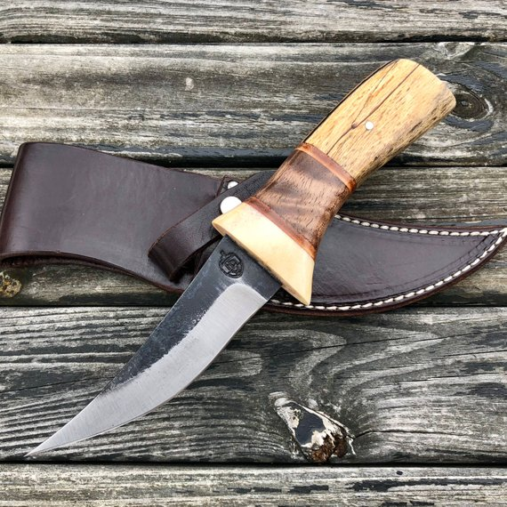 Hunting Camp Utility Knife W High Carbon Steel 1095 Blade Stabilized Spalted Maple Walnut And An Leather Sheath Knife High Carbon Steel