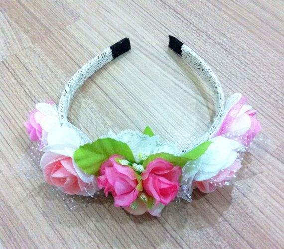 Rose flower headband best for bridals and by HAIRandDESIGN on Etsy