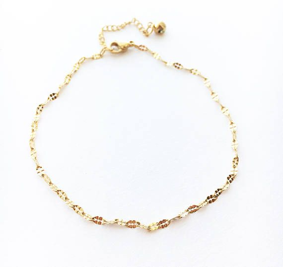 gold heart anklet ankle dainty pin filled bracelet delicate