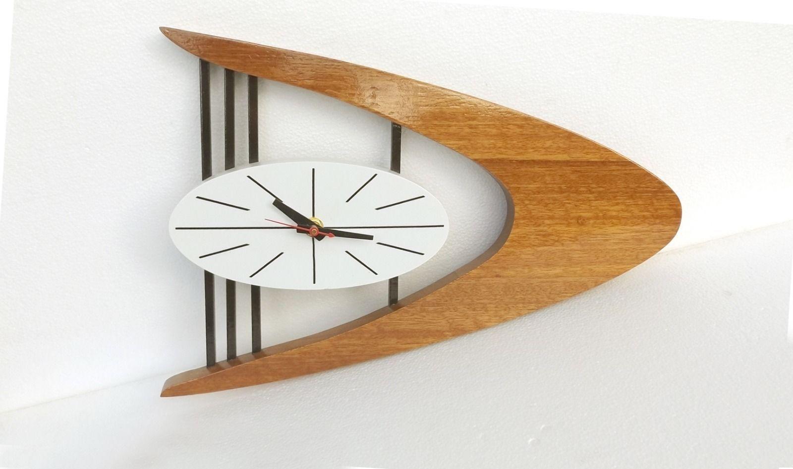 MID-CENTURY DANISH MODERN Boomerang Wall Clock Belart style   Antiques, Periods & Styles, Mid-Century Modernism   eBay!