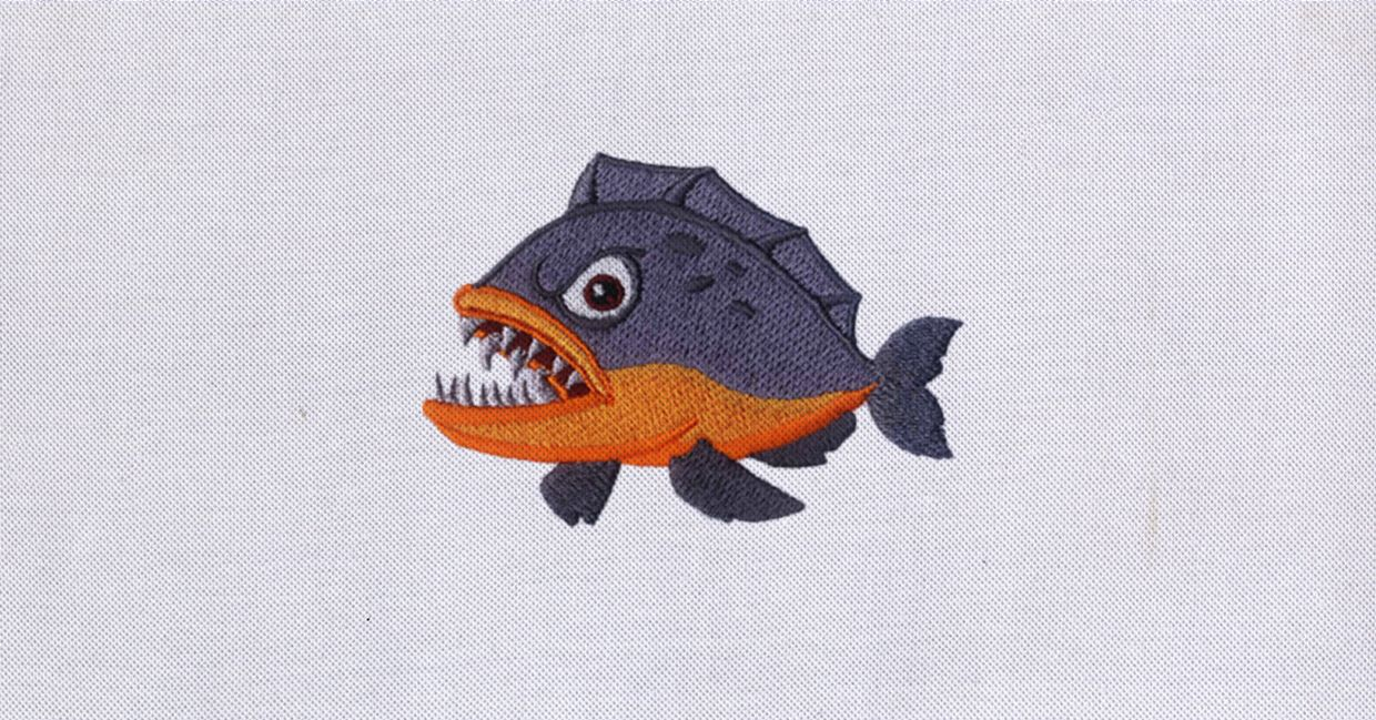 Dangerous Piranha Fish Embroidery Design Pinterest Embroidery