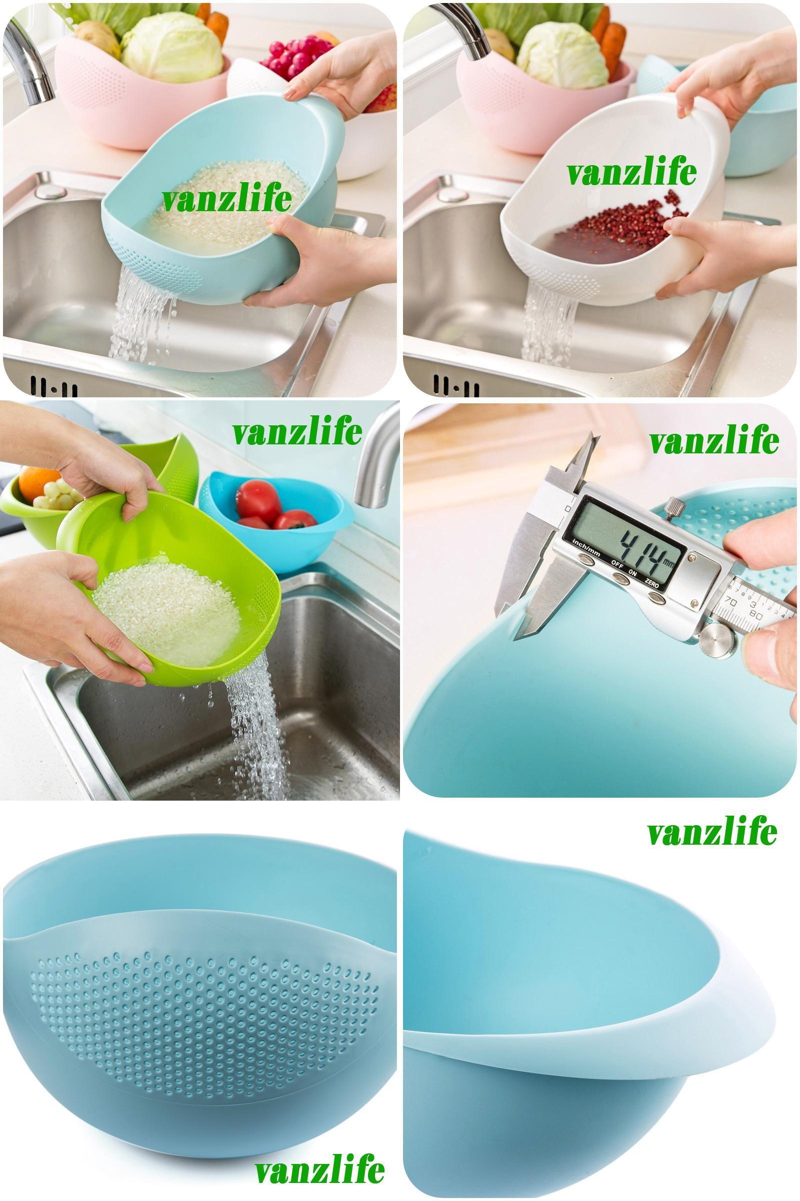Visit to Buy] vanzlife fruit dish rice washing sieve thick rice ...