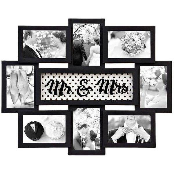 Black Mr Mrs 8 Opening Collage Frame 15 Liked On Polyvore Featuring Home Home Decor F Wall Collage Picture Frames Collage Frames Gold Picture Frames