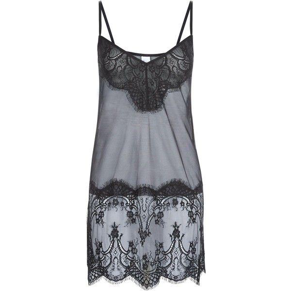 New Look Black Lace Sheer Slip Night Dress (£20) ❤ liked on Polyvore featuring intimates, sleepwear, nightgowns, black, sheer nightgown, lace sleepwear, sheer lace nightgown, see through nightgown and sheer sleepwear