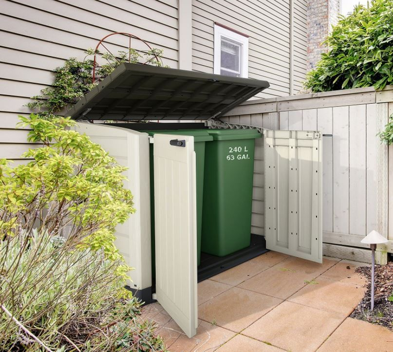 Large Outdoor Storage Containers Wheelie Trash Bin It Out Max Delivers A Stylish Weatherproof Composition