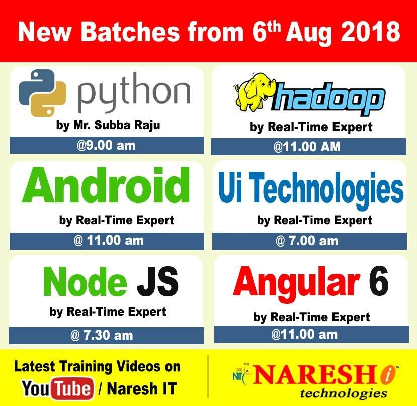 Attend New Batches By Real-Time Experts From 6th Aug Visit