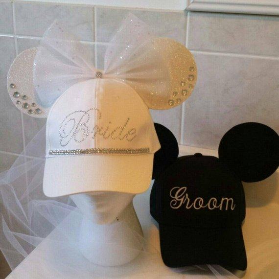 Bride Minnie Mouse Ears Groom Mickey Mouse Ears - Bridal Veil - Bride Groom  Wedding Hats 6a2c1279e27