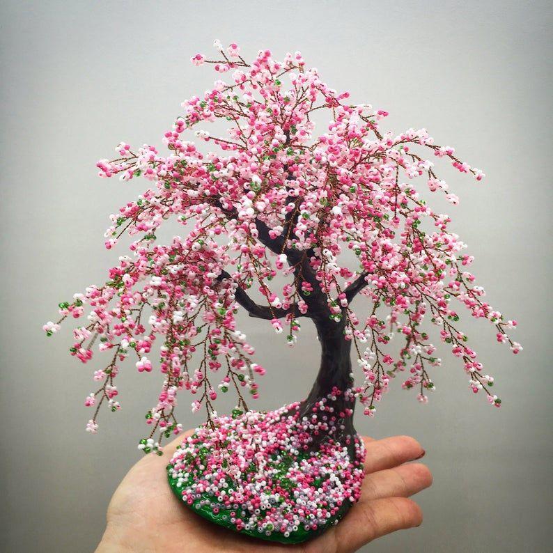Japanese Beaded Tree Cherry Blossom Bonsai Beaded Tree Wire Etsy Cherry Blossom Bonsai Tree Wire Tree Sculpture Tree Sculpture