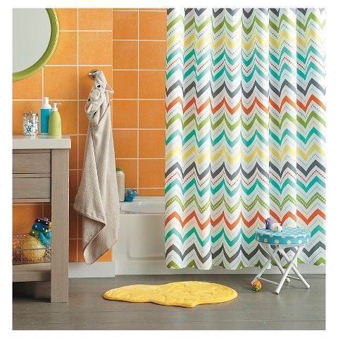 Good Circo™ Chevron Shower Curtain   Orange For Kids Bathroom