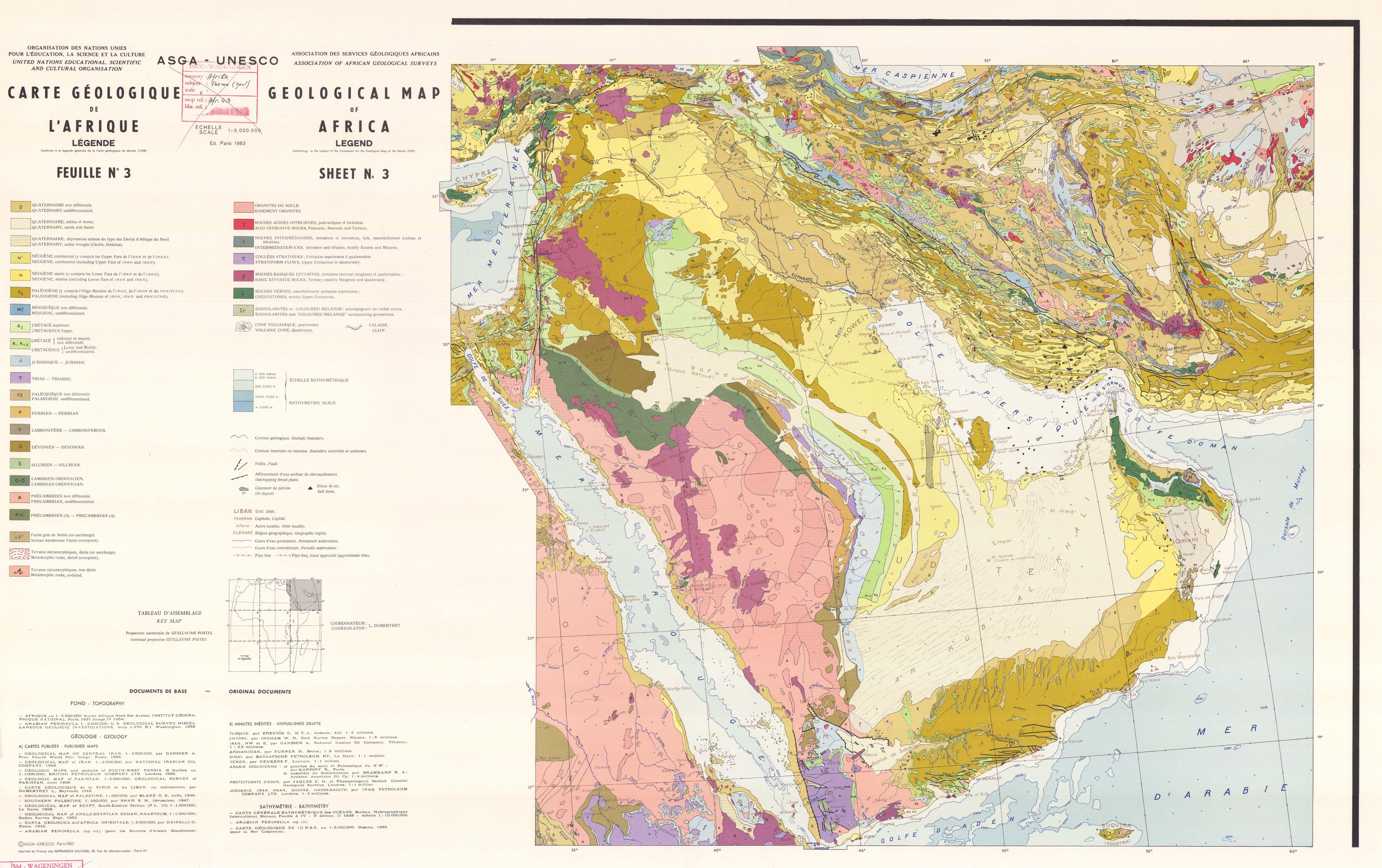 Carte Geologique Afrique Du Sud.Carte Geologique De L Afrique Feuille N 3 Asga Unesco Paris