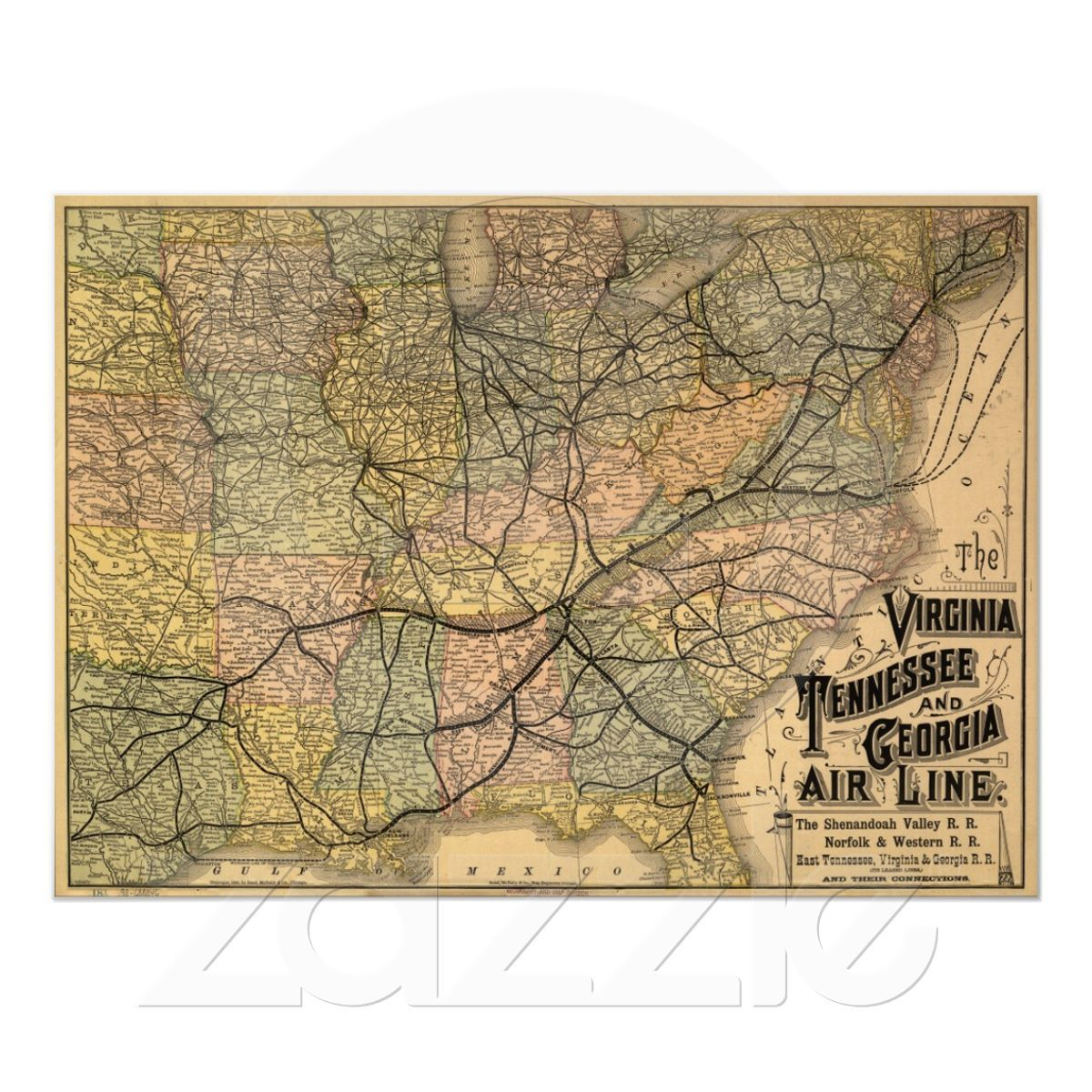 Virginia Tennessee & Georgia Railroad Map  1882 Poster