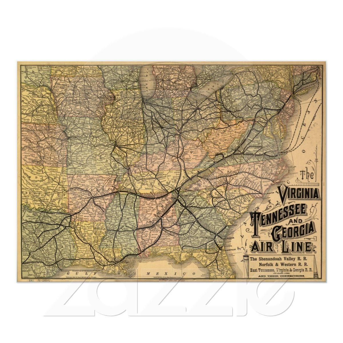 Railroad Map Of Georgia.Virginia Tennessee Georgia Railroad Map 1882 Poster Zazzle Com