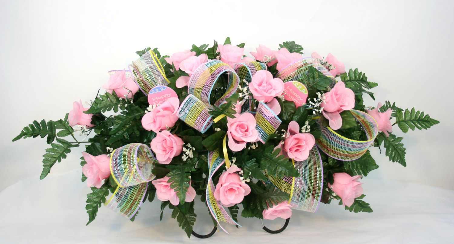 Mothers Day Pink Roses Silk Flower Cemetery Tombstone Saddle With