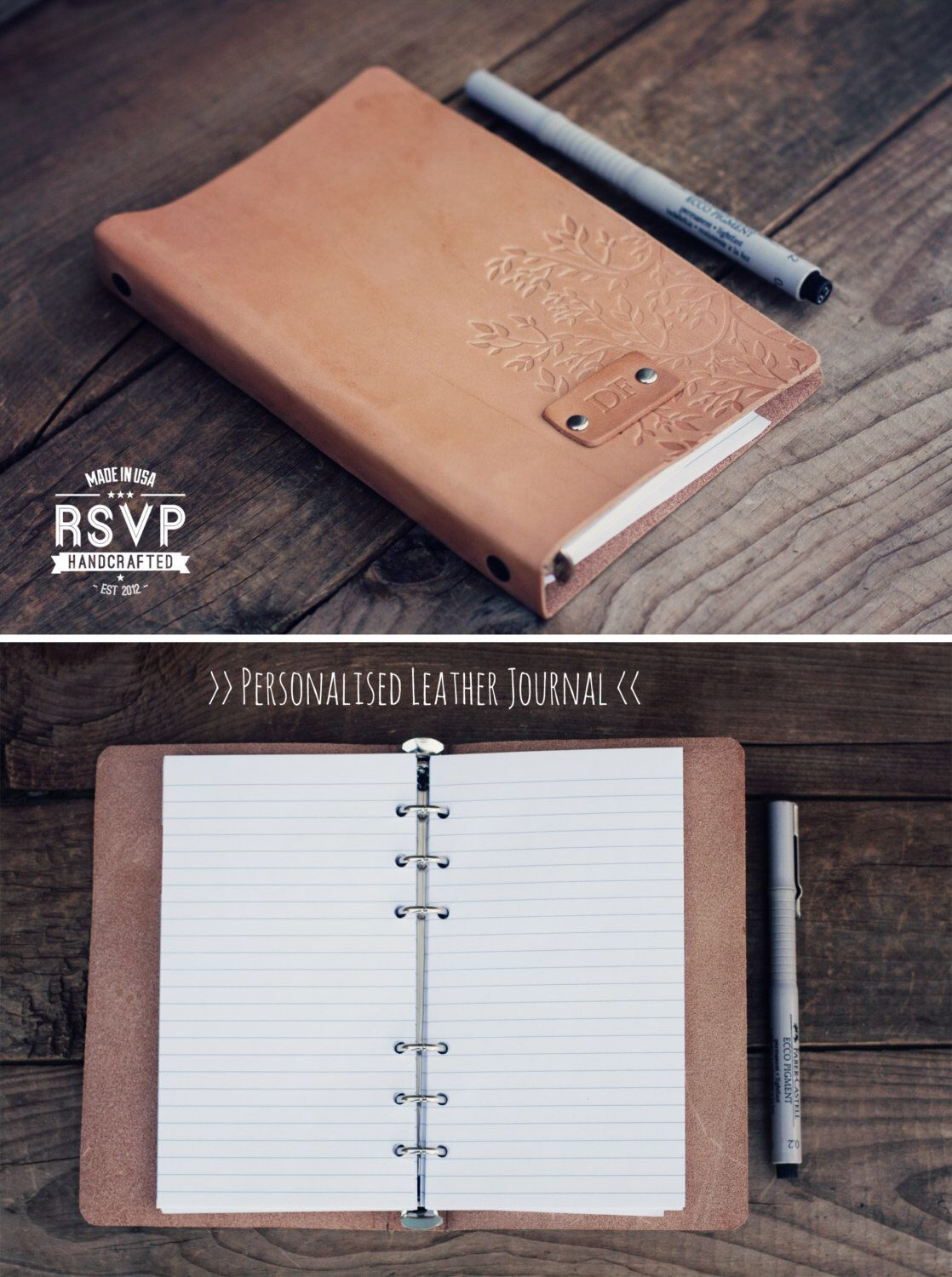 Leather journal Personalized, Notebook, Travel Diary, Journal, Sketchbook,leather journal, Tree branch, handmade, Custom text, name initials by RSVPhandcrafted on Etsy https://www.etsy.com/sg-en/listing/226763334/leather-journal-personalized-notebook