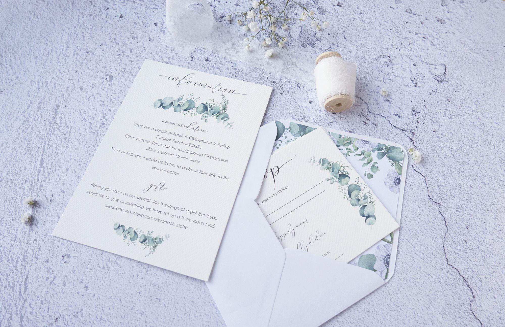 Eucalyptus Wedding Invitation Details Card And Rsvp Wedding Invitation Details Card Wedding Invitations Wedding Invitation Suite