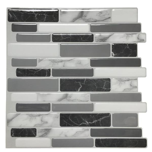 Art3d 12 In X 12 In Grey Peel And Stick Wall Tile Backsplash For Kitchen 10 Pack A17042p10 The Home Depot Kitchen Wall Tiles Kitchen Backsplash Stick On Tiles