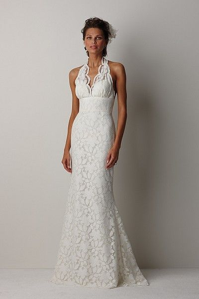 """Watters Brides Perth Gown Ivory cotton daisy lace, halter neckline gown with fluted hem, pleated back train and ivory hand rolled lace and silk organza flowers nestled at the back pleat. Dress has 57"""" sweep train"""