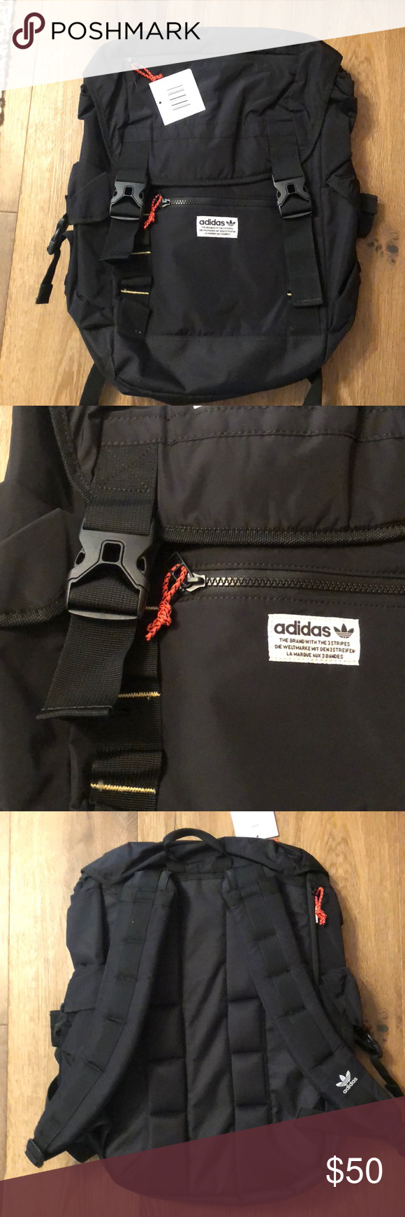 74dccdd3aff7 adidas Originals Urban Utility backpack Outdoor inspired pack includes two  side pockets and two smaller zip pockets. Main compartment has padded laptop  ...