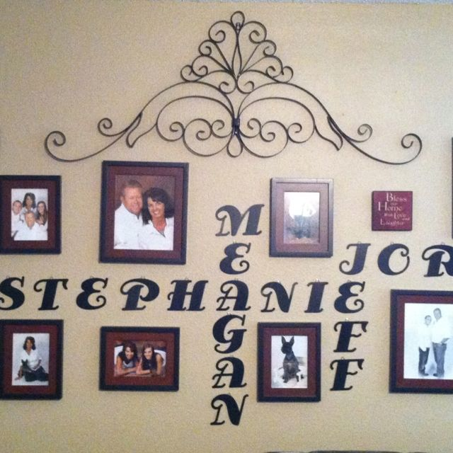 Family Portrait Wall cool idea I love it great for the living room