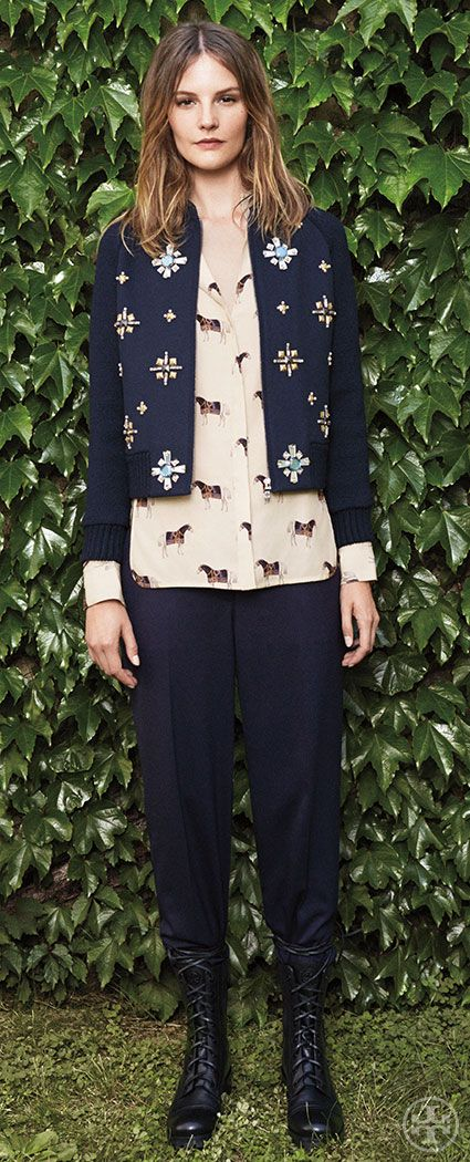 Balance whimsical prints with tomboy styles: slouchy pants and combat boots | Tory Burch Fall 2014