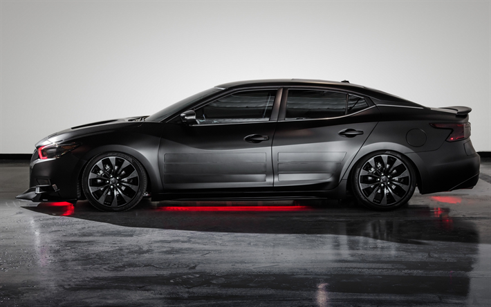 Download wallpapers Nissan Maxima, 2017, side view, black ...