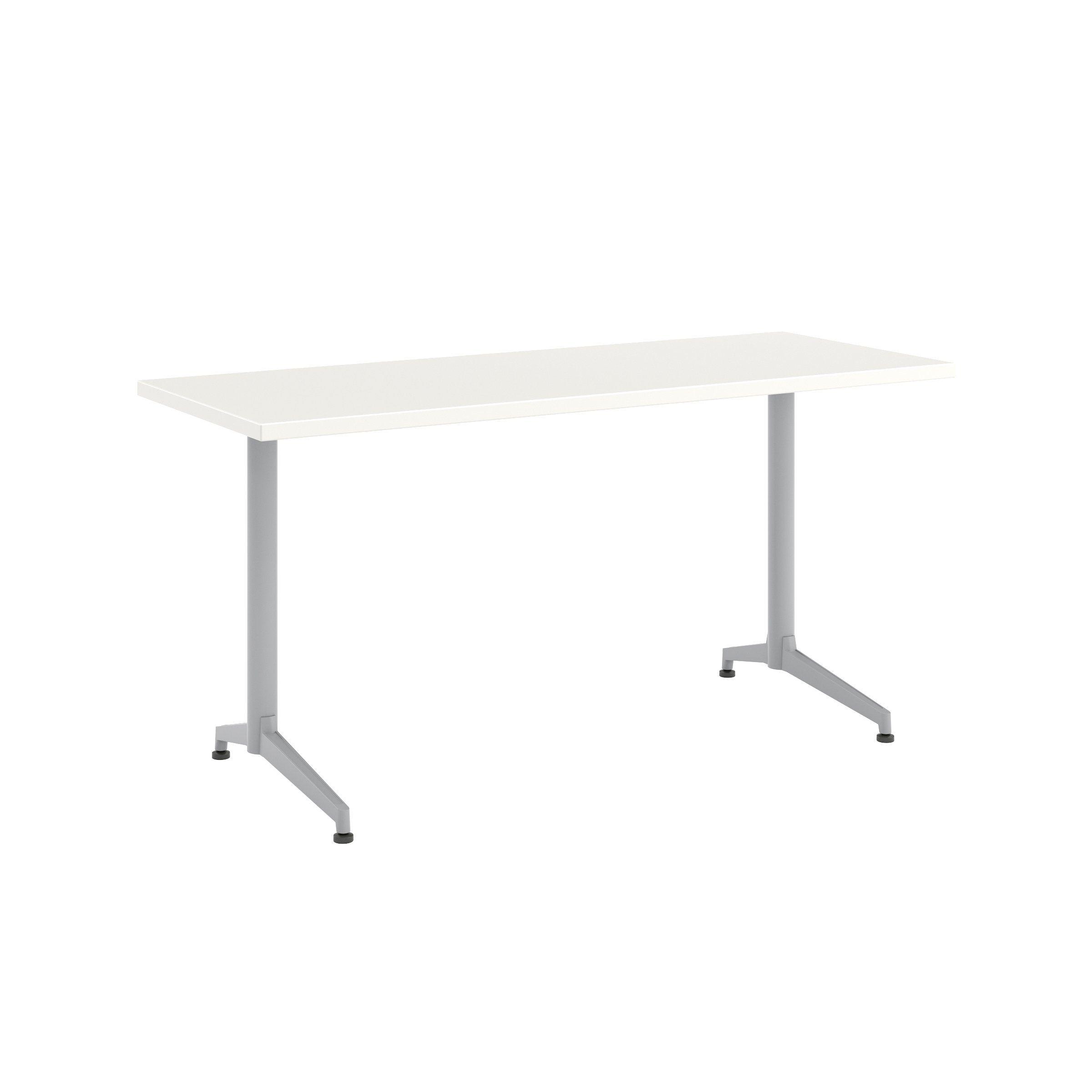 Photo of Jive Desk with C-Leg Base – 24D x 60W / Linen / Metallic Sil…