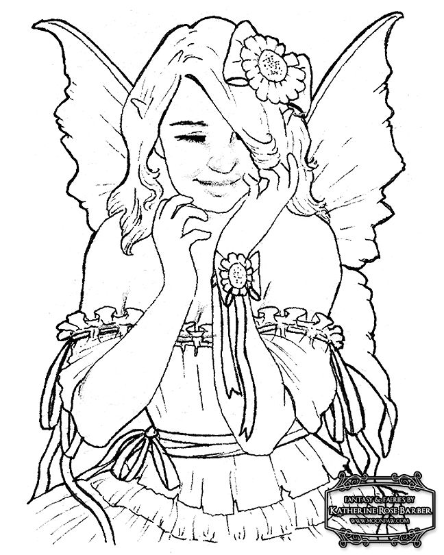 fairy coloring pages for adults free fairy coloring pages by katherine barber - Fairy Coloring Pages
