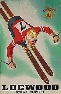 vintage ski poster - Sacha Maurer 1936  Stowe, Vermont