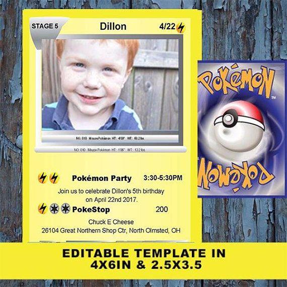 Pokemon Pokemon Birthday Birthday Invitation Pokemon Card Etsy Pokemon Invitations Pokemon Birthday Pokemon Party