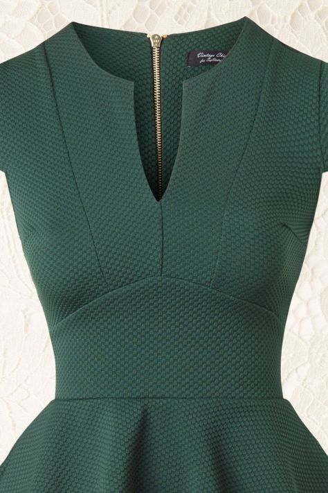 Photo of 50s Carese Peplum Dress in Green