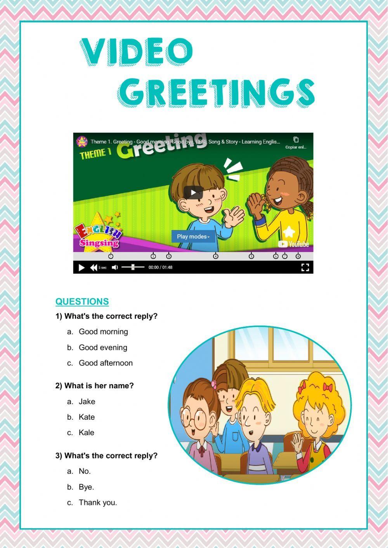 Video Quiz Greetings Interactive Worksheet Social Skills Games Esl Lessons Greetings