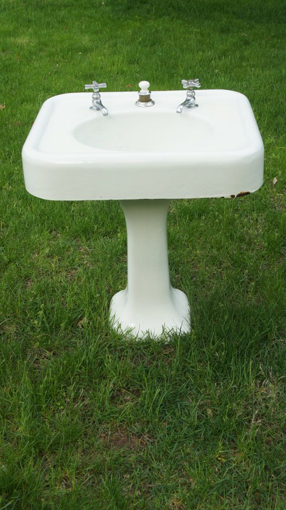 Antique Cast Iron Enamel Bathroom Pedestal Sink And
