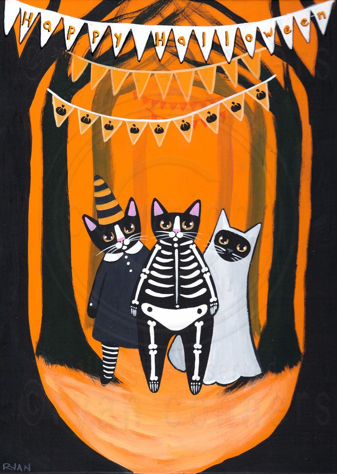 Halloween Cats In Costume Original Halloween Cat Folk Art Painting