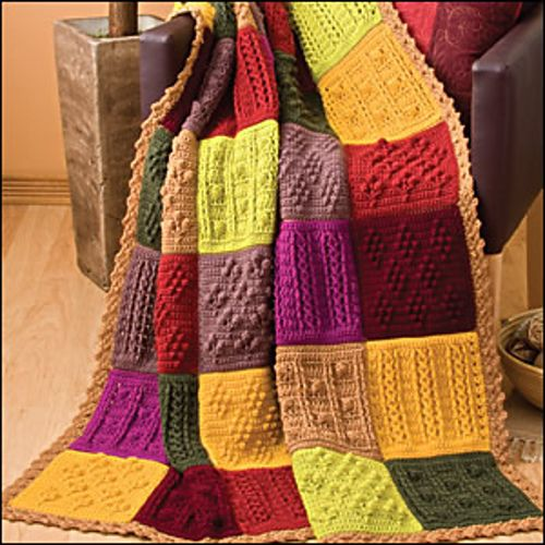 Patchwork Squares Afghan by Susan Lowman. Crochet World, August 2010: Pattern available for purchase.