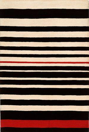 Modernrugs.com Red White Black Striped Rug